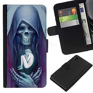 Nice Gift Good Present//Funda protectora bolsa Nuevo diseño cartera de piel Para Sony Xperia Z2D6502/ángel muerte huesos humanos cráneo/