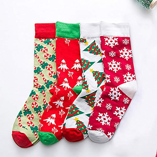 Christmas Long Socks,Women Cotton Xmas Tree Multi-Color Printed Leg Warmer Winter Warm Socks (Free Size, D) by Leewos (Image #3)