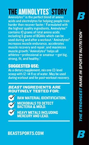 Beast Sports Nutrition Aminolytes Amino Acid Powder Essential Amino Acid Supplement Accelerate Muscle Recovery Replenishes Electrolytes Watermelon Flavor 30 Servings