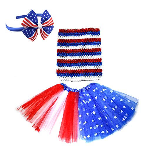 Dreamdanceworks July 4th American Flag Tutu Skirt Outfit Girls Red White ()