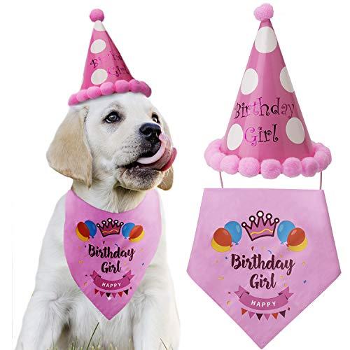 LUTER Dog Birthday Bandana Triangle Scarfs Cute Doggie Birthday Party Hat Happy Birthday Boy Print for Dog or Puppy Birthday Decor(Pink) -