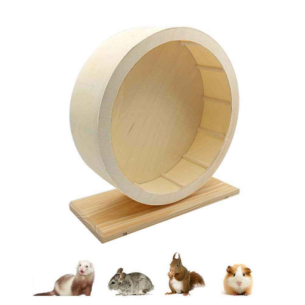 Silent Hamster Exercise Wheel, Wooden Pet Gerbils Mute Spinning Playing Toy, Handmade Running Rest Nest for Chinchillas Hedgehogs Mice and Other Small Animals by Anxyuan