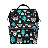 WIHVE Boy Girl Unisex Fashion canvas Tree Deer Bear Head Pattern Lightweight School Bag Laptop Backpack Bookbag