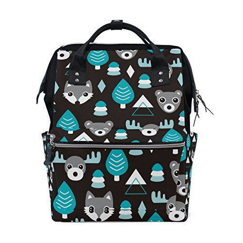 WIHVE Boy Girl Unisex Fashion canvas Tree Deer Bear Head Pattern Lightweight School Bag Laptop Backpack Bookbag by WIHVE