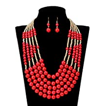 PSNECK acrylic Pearl necklace and earring Nigerian wedding african beads jewelry set statement choker necklace