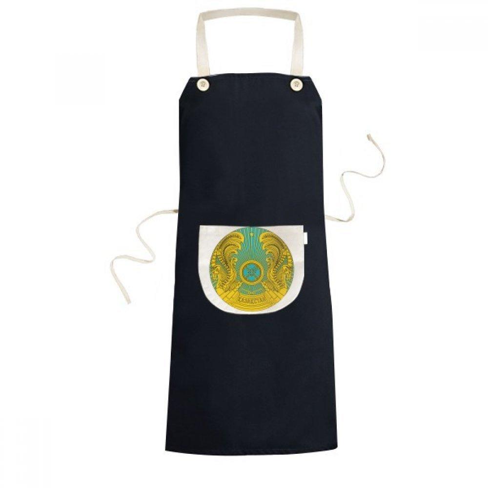 コールドマスター DIY ラブ カザフスタン アジア エンブレム クッキング キッチン ブラック ビブエプロン ポケット レディース メンズ シェフギフト   B07GDR86Q9