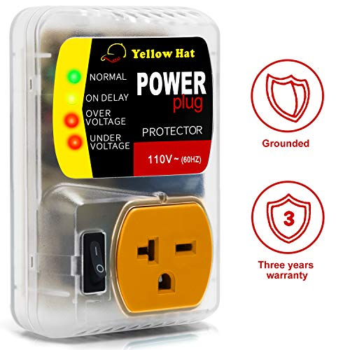HVAC YELLOW HAT Voltage Protector Brownout 110V60Hz Refrigerator Electronic Surge Protector for AC Appliances Protects Appliances from Damaging&Costly Voltage Spikes/Dips