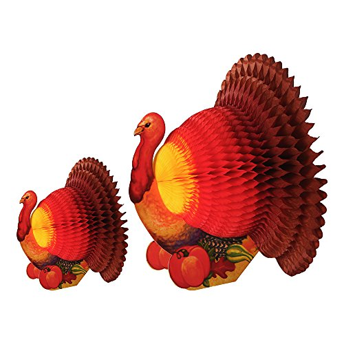Hoffmaster 690010 Fold Out Honeycomb Thanksgiving Turkey Centerpiece, (Each Case has 6-12