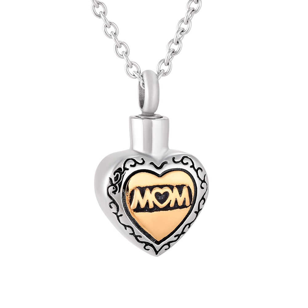Amazon.com: constantlife Golden Vintage Heart Charms Mom Memorial Ashes  Keepsake Necklace Charm Pendant: Jewelry