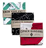 Colter Co. Bandana 3 -Pack Bandna 3-Pack for Camping, Hiking, Fishing | 100% Cotton | Know Your Knots Stargazer, Cipher