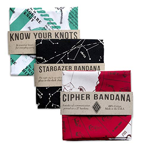 Colter Co. Bandana 3 -Pack Bandana 3-Pack for Camping, Hiking, Fishing | 100% Cotton | Know Your Knots Stargazer, Cipher