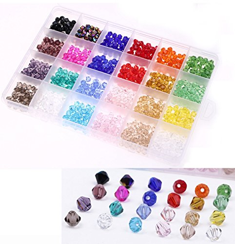 Shapenty 6mm Decorative Hand Bicone Faceted Crystal Glass Beads with Hole for DIY Craft Bracelet Necklace Jewelry Making, 24 Colors, 960 Pieces/Box (6mm Faceted Bicone Beads)