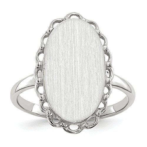 Roy Rose Jewelry 14K White Gold Open Back Signet Ring Oval Shape Scallop Edge Custom Personailzed with Free Engraving Available Initial ~ Size (14k White Gold Initial Ring)