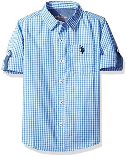 (U.S. Polo Assn. Little Boys' Toddler Long Sleeve Single Pocket Sport Shirt, Regatta Plaid, 2T)