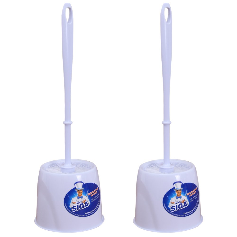 MR. SIGA Toilet Bowl Brush and Caddy, Dia 12cm x 38cm Height, Pack of 2 Set by MR.SIGA