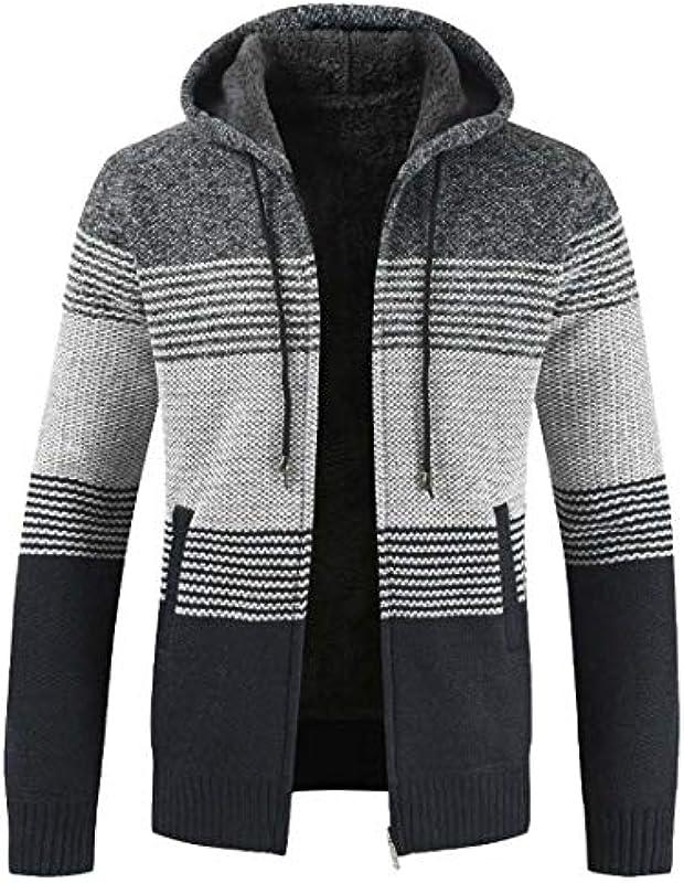 GRMO Men Knitwear Basic Long Sleeve Zip-Up Hooded Sweater Cardigan: Odzież