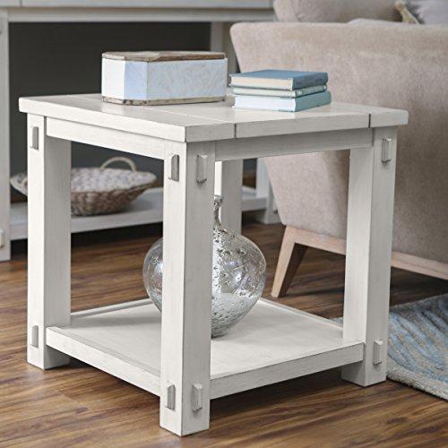Belham Living Spacious Wood Top and Bottom Shelf Westcott Square End Table -Antique White