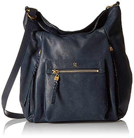 Elliott Lucca Vivien Foldover Hobo Bag, Ink, One Size - Elliott Lucca Leather Shoulder Bag