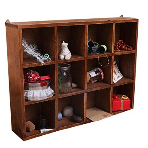 Ieasycan Large 12 Grid Craft Display Organizer, Cupboard Top Box Cabinet Top Wooden Case, Multipurpose Keepsake Storage Boxes -Wood (brown)