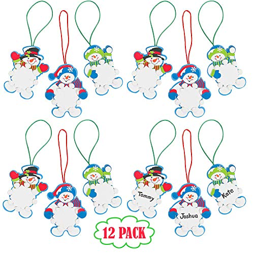 Snowman Snowflake Christmas Ornament Foam Craft Kit, Bulk Pack of 12, Holiday Party Favors Supplies, Stocking Stuffers for Kids, by 4E