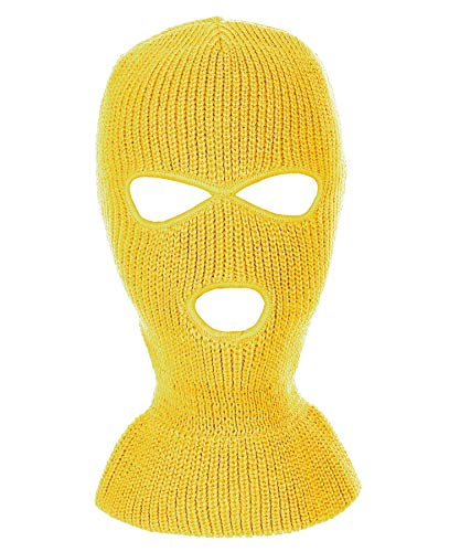 RufnTop Ski Mask for Cycling & Sports Motorcycle Neck Warmer Beanie Winter Balaclava Cold Weather Face Mask(3 Holes Yellow One Size)