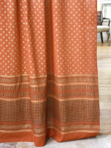 Saffron Marigold – Dreams of India: Shimmering Goldstone – Orange and Gold Sari Inspired Hand Printed – Elegant Romantic Sheer Cotton Voile Curtain Panel – Tab Top or Rod Pocket – (46 x 63) - Zarin Spice