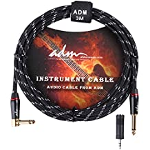ADM 10FT 3M Straight to Right Angle Noiseless Musical Instruments Electric Guitar & Bass Cable, Studio Quality Guitars & Bass Amp Cord, Black Tweed Woven Jacket