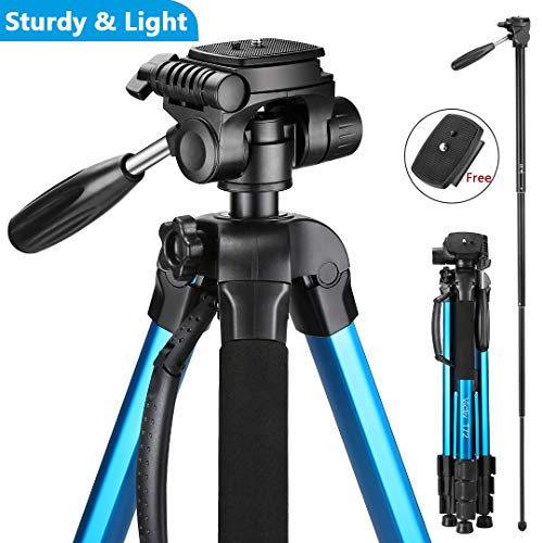 Victiv Camera Tripod Upgraded Version T72 Max. Height 72-inch/182cm – Lightweight Tripod Compact for Travel with 3-way Swivel Head and 2 Quick Release Plates for Canon Nikon DSLR Video Shooting – Blue