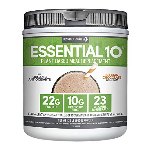 Designer Protein Essential 10 100% Plant-Based Meal Replacement, Belgian Chocolate, 1.32 -