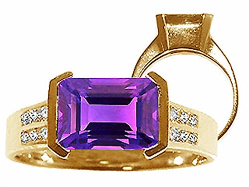 - Tommaso Design Genuine Amethyst Ring 14 kt Yellow Gold Size 6.5