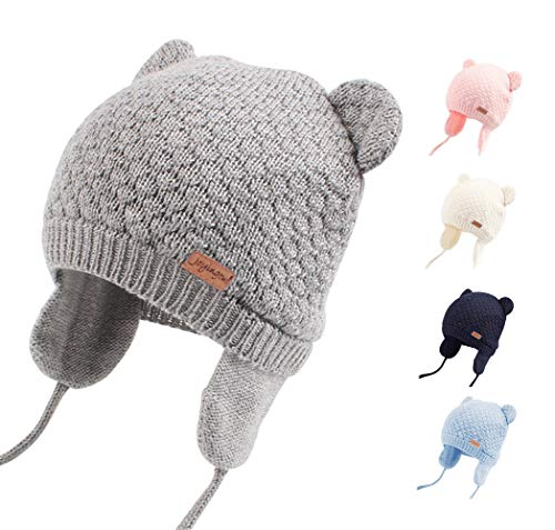 Joyingtwo Soft Warm Knit Wool Cute Bear Baby/Infant/Toddler Beanie Hat with Earflap for Winter/Autumn, Grey ()