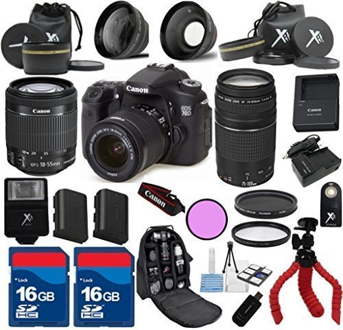 Canon EOS 70D Camera Body with Canon 18-55mm IS STM Lens Al's Variety Premium Bundle with Canon 75-300mm III Zoom + Deluxe Backpack + XIT 3Pc Filter Kit + XIT Wide Angle Lens + XIT Telephoto Lens + Spider Flexible Tripod + Extra High Capacity Battery + Extra AC/DC Rapid Charger + 2pcs 16GB Bandwidth Memory Cards + 24pc Accessory Bundle Kit