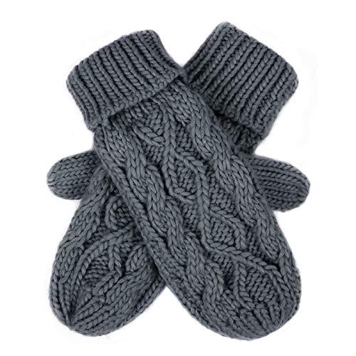 HDE Womens Winter Gloves Crochet Twist Cable Knit Hand Warmer Mittens,Gray,One Size ()