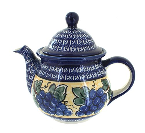 OKSLO Polish pottery grapes large teapot with cobalt rim ()