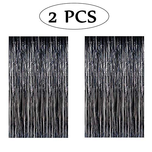 heytech 2 PCS Metallic Tinsel Foil Fringe Curtains 3.3 ft x 6.7 ft Party Photo Backdrop Wedding Decor (Black,2 Pack)