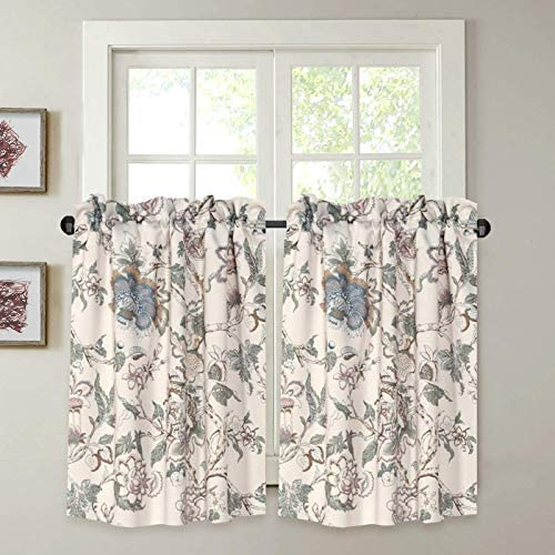 H.VERSAILTEX Kitchen Curtains 45 Inch Length Vintage Floral Beige Sage Blue Curtain Tiers Pair