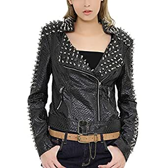 DISSA P604 Women Faux Leather Biker Jacket Slim Coat Leather Jacket,Black,S,UK 8