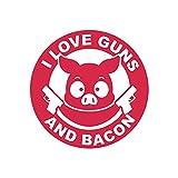 I Love Guns and Bacon Sticker Decal 2a gun rights humor pig FA Vinyl