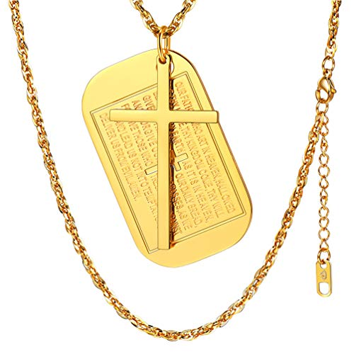 (PROSTEEL Gold Cross Dogtag Rectangle The Lord's Prayer Necklace Bible Verse Dog Tag Pendant 18K Plated Christian Men Women Jewelry Gift)