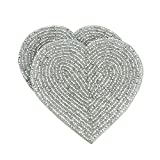 Shalinindia Handmade Beaded Heart Coaster Set - 6
