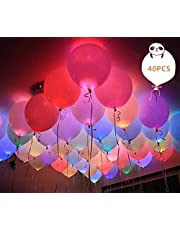 40pcs LED Light Up Balloons by ALUNME RGB Flashing Balloon Lights Long Standby Time for Dark Party Supplies,Birthday and Festival Decorates