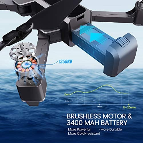 Potensic D88 Foldable Drone, 5G WiFi FPV Drone with 4K Camera, RC Quadcopter for Adults and Experts, GPS Return Home, Ultrasonic Altitude Setting, Optical Flow Positioning, 2 Battery 40min-Upgrade 51Wbqpc VJL