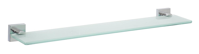 Nie Wieder Bohren ekkro Badablage, verchromt, satiniertes Glas, inkl. Klebelö sung, hohe Haltekraft (bis 12kg), 50mm x 600mm x 120mm tesa EK200