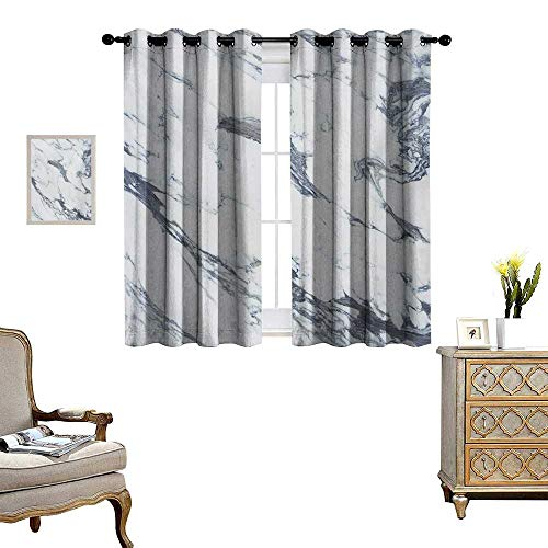 (Marble Waterproof Window Curtain Antique Marble Textured Ocean Style Organic Granite Rock Formation Art Print Blackout Draperies for Bedroom W63 x L72 Cadet Blue White)