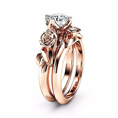Haluoo Boho Jewelry, 2 in 1 Couple Rings Set Rose Flower Engagement Rings Round Brilliant Cut Cubic Zirconia Wedding Band Promise Rings Size 5/6/7/8/9/10/11 (7, Rose Gold)