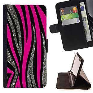 """For Samsung Galaxy Note 5 5th N9200,S-type Patrón Plata Líneas rosadas del animal de piel"""" - Dibujo PU billetera de cuero Funda Case Caso de la piel de la bolsa protectora"""