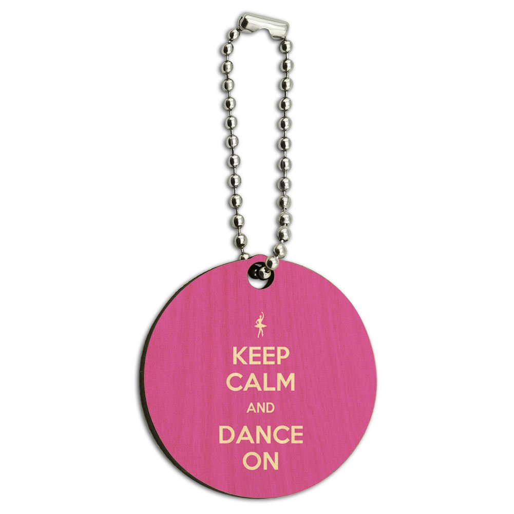 Keep Calm And Dance On Ballet Dancer Wood Wooden Round Key Chain
