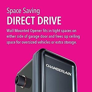 Chamberlain RJO20 Direct Drive Wall Mounted Space Saving Garage Door Opener, One Size, Black