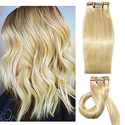 120g Blonde Human Hair Clip in Human Extensions for Women Yaki Straight Brazilian Virgin Hair Double Weft for Wedding/Party/Halloween/Performance 7pcs(16