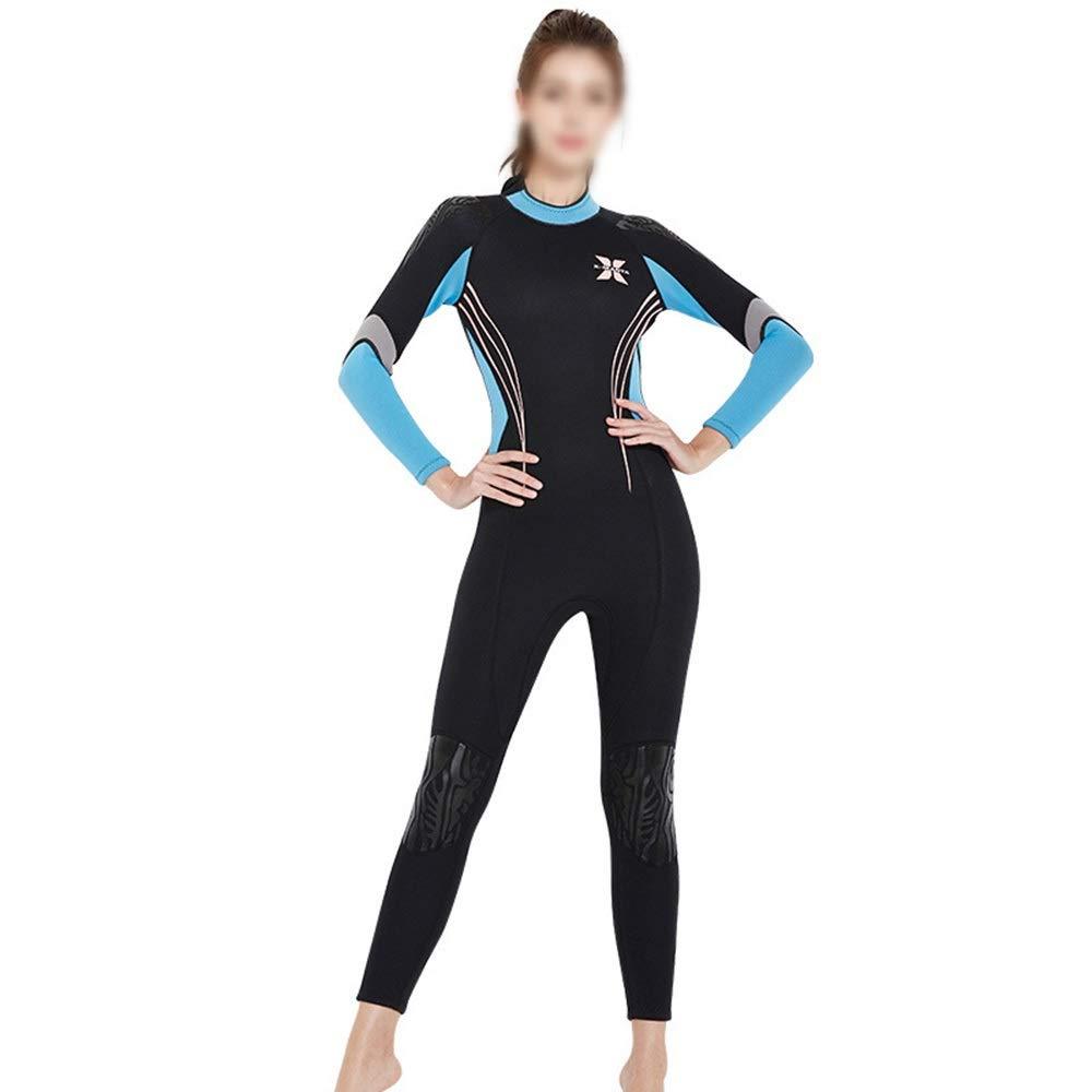 Bleu L UICICI 3MM épais Costume de plongée Chaud féminin Siamois vêteHommests de Surf à Manches Longues Hiver Natation Froid Costume de plongée méduse Maillot de Bain